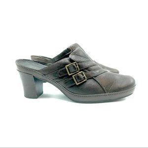 Clarks Dark Brown Leather Mules, Size 10 M, EUC